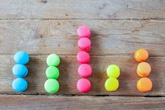 Arranged in a bar graph Macaroon Stock Photos