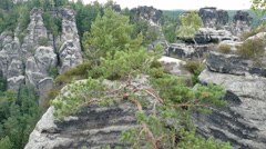 Bastei rock formation in Saxon Switzerland National Park, Germany - stock footage