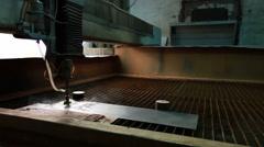 Waterjet cutting workshop. View of running machine Stock Footage