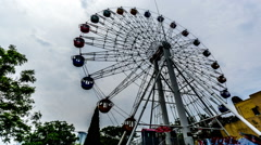Ferris wheel in the park of Dalian, China. Stock Footage