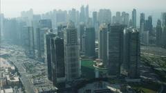 Aerial Dubai Lake Sheikh Zayed Road Persian Gulf UAE - stock footage