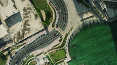 Aerial Dubai Skyscrapers Sheikh Zayed Road Persian Gulf UAE - stock footage