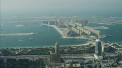 Aerial Dubai Palm Jumeirah Island Atlantis luxury homes UAE - stock footage