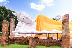 Stock Photo of The second longest reclining buddha, 50 metres in length at Wat Khun Inthapra