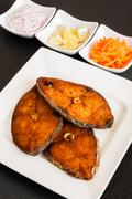 Indian seer fish fillets fry Stock Photos