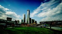 The modern buildings near Dalian railway station, Dalian, China. Stock Footage