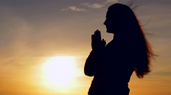 Stock Video Footage of prayer at sunset