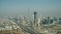 Aerial Dubai Burj Khalifa Sheikh Zayed Road Dubai Metro UAE - stock footage