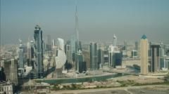 Aerial Dubai Business Bay Burj Khalifa Skyscraper Persian Gulf UAE - stock footage