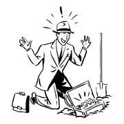 Treasure hunter business finance concept - stock illustration