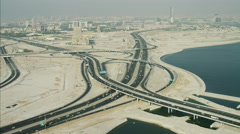 Aerial Dubai Intersection Dubai Creek Oud Metha Road Persian Gulf UAE - stock footage