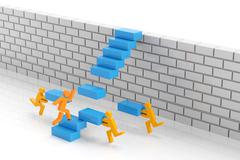 Stock Illustration of Teamwork to overcome obstacle