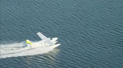Aerial Seaplane landing Dubai Creek Persian Gulf UAE - stock footage