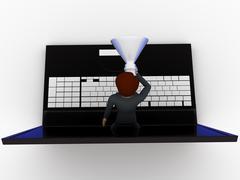 3d man speaking through laptop in speaker concept - stock illustration
