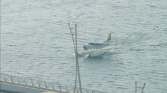 Aerial Seaplane vacation Dubai Creek Persian Gulf UAE Stock Footage