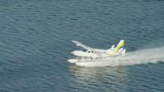 Aerial Seaplane taking off Dubai Creek Persian Gulf UAE - stock footage