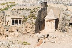 Tombs of Absalom and Zachariah jerusalem - stock photo