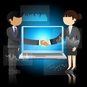 businessman and business woman shaking hands and laptop - stock illustration