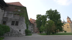 Old building with greenery on the Wawel Hill, Krakow Stock Footage