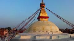 The Boudhanath Stupa just before sunset in Kathmandu, Nepal Stock Footage