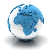 Globe with extruded continents, Europe and Africa region - stock illustration