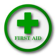 Stock Illustration of First aid icon. Internet button on white background..