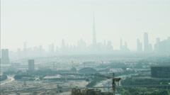 Aerial Dubai Burj Khalifa Grand Hyatt Hotel Metro Rail UAE Stock Footage