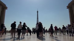 Eiffel Tower Tourists Trocadéro View Morning Stock Footage