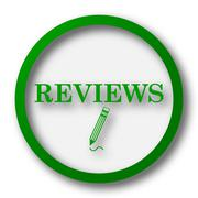 Reviews icon. Internet button on white background.. Stock Illustration
