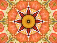 Stock Illustration of orange color drawing in kaleidoscope pattern