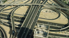Aerial Dubai Intersection Sheikh Zayed Road Dubai Metro UAE - stock footage