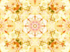 Stock Illustration of orange color drawing in kaleidoscope pattern