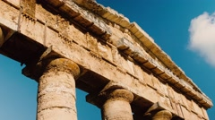 Tilt shot of Segesta Greek temple in Sicily. Italy Stock Footage
