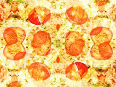 orange color drawing in kaleidoscope pattern - stock illustration