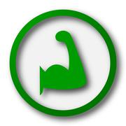 Stock Illustration of Muscle icon. Internet button on white background..