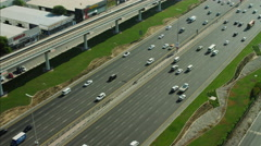 Aerial Dubai City Sheikh Zayed Road multi lane UAE - stock footage
