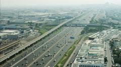 Aerial Dubai City Sheikh Zayed Road moving traffic multi lane UAE - stock footage