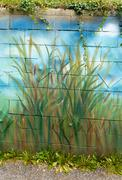 bunch of wild cane reed painted on a wall - stock illustration