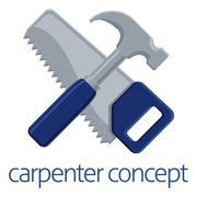 Saw and Hammer Carpenter Concept - stock illustration