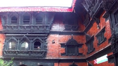 Inner courtyard of the Palace of Royal Kumari in Kathmandu, Nepal Stock Footage