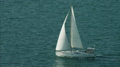 Aerial Luxury Sailing Yacht people ocean vacation - stock footage