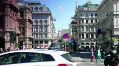 ULTRA HD 4K real time shot,The Vienna State Opera building and traffic street Stock Footage