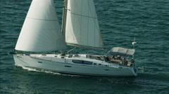 Aerial Luxury Sailing Yacht people ocean vacation - stock footage