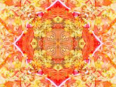 Orange color drawing in kaleidoscope pattern Stock Illustration