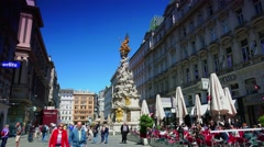 ULTRA HD 4K real time shot,The plague column on Graben, old town Vienna Stock Footage