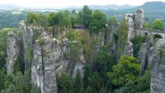 Bastei cliffs and stone bridge. Saxon Switzerland National Park, Germany - stock footage