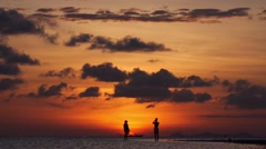 Couple in Love at Sea Sunset on the Beach in Honeymoon - stock footage