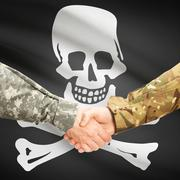 Military handshake with flag on background - Jolly Roger - stock photo
