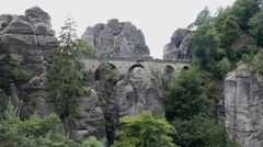Bastei Stone bridge. Saxon Switzerland National Park, Germany - stock footage