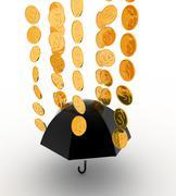 3d umbrella under rain concept - stock illustration